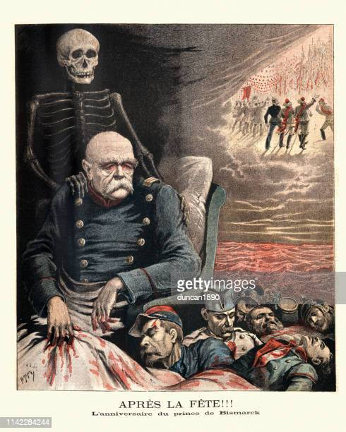 Caricature of Otto von Bismarck looking over dead french soldiers