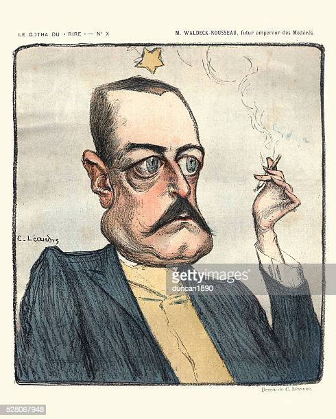 stockillustraties, clipart, cartoons en iconen met caricature of pierre waldeck-rousseau - karikatuur