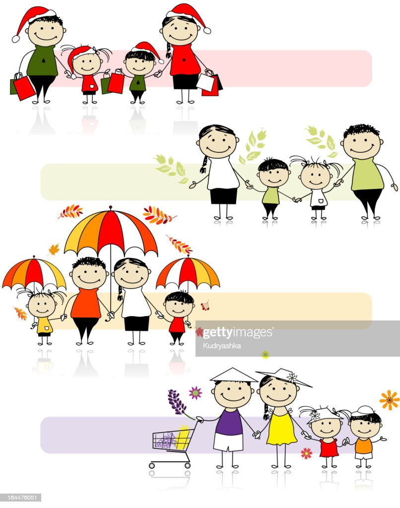 Caricature set of family of four in four seasons