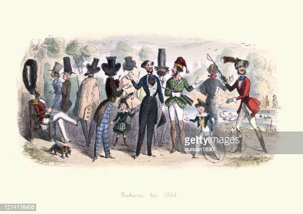 caricatures of victorian fashion in the 1840s, 19th century - satire stock illustrations