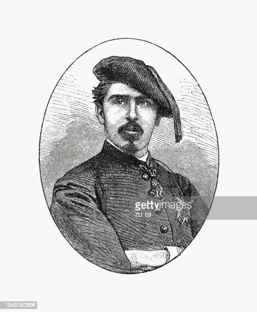 carlos maría de borbón (1848-1909), duke of madrid, woodcut, 1900 - 1900 1909 stock illustrations
