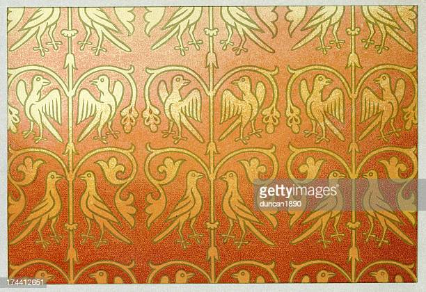 carlovingian silk pattern - 8th century bc stock illustrations, clip art, cartoons, & icons