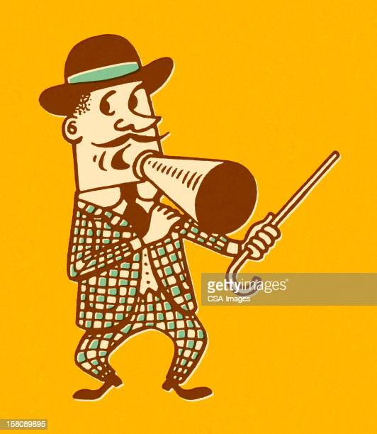 carnival barker with cane and megaphone - barker stock illustrations, clip art, cartoons, & icons