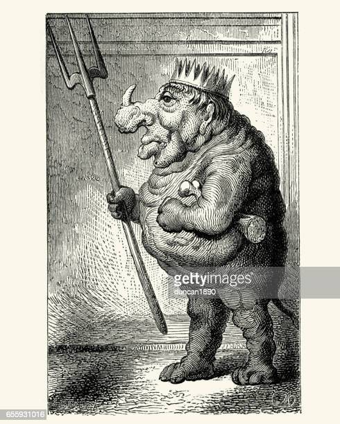 stockillustraties, clipart, cartoons en iconen met carnaval kostuum monster, new orleans, 19e eeuw - monster fictional character