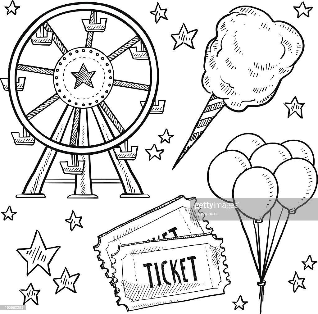 Carnival or amusement park items sketch