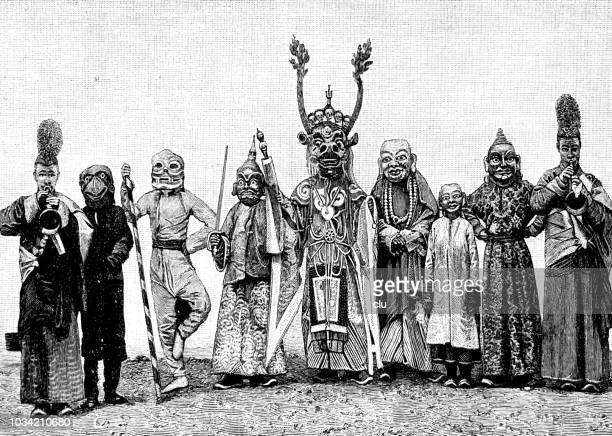 Carnival parade, masks from Mongolia