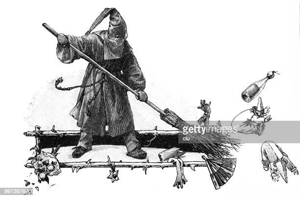 carnival witch with broom - fete stock illustrations