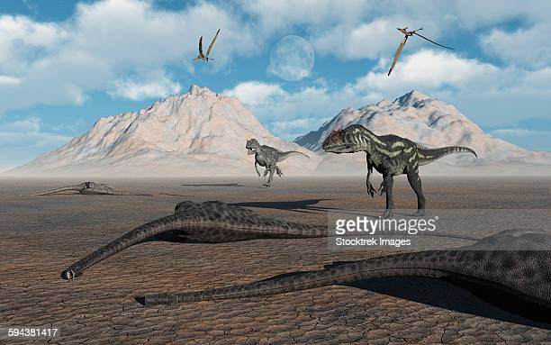 Carnivorous Allosaurus dinosaurs approach a group of dead sauropods during the Jurassic Period.