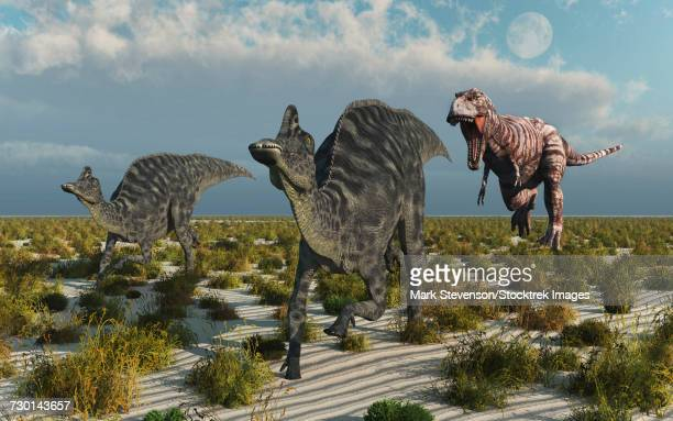 A carnivorous T-rex chasing a pair of Velafrons dinosaurs.
