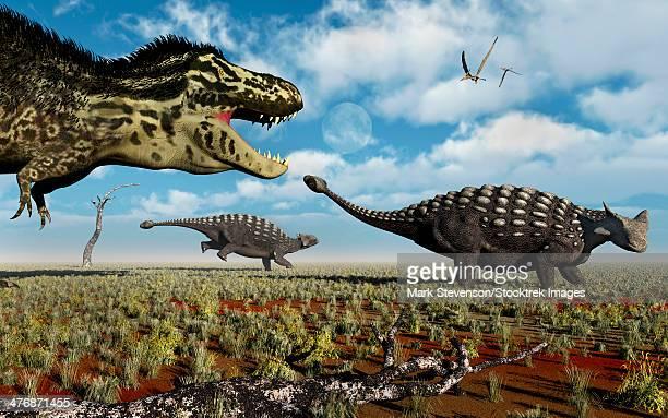 a carnivorous tyrannosaurus rex hunting down a pair of ankylosaurus dinosaurs during earth's cretaceous period. - scute stock illustrations, clip art, cartoons, & icons