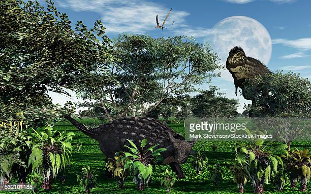 a carnivorous tyrannosaurus rex stalking a herbivorous ankylosaurus during the cretaceous period, in what is modern day north america. - scute stock illustrations, clip art, cartoons, & icons