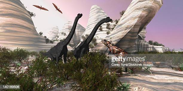 A Carnotaurus dinosaur approaches two huge Brachiosaurus for a battle while two Pterodactyls watch.