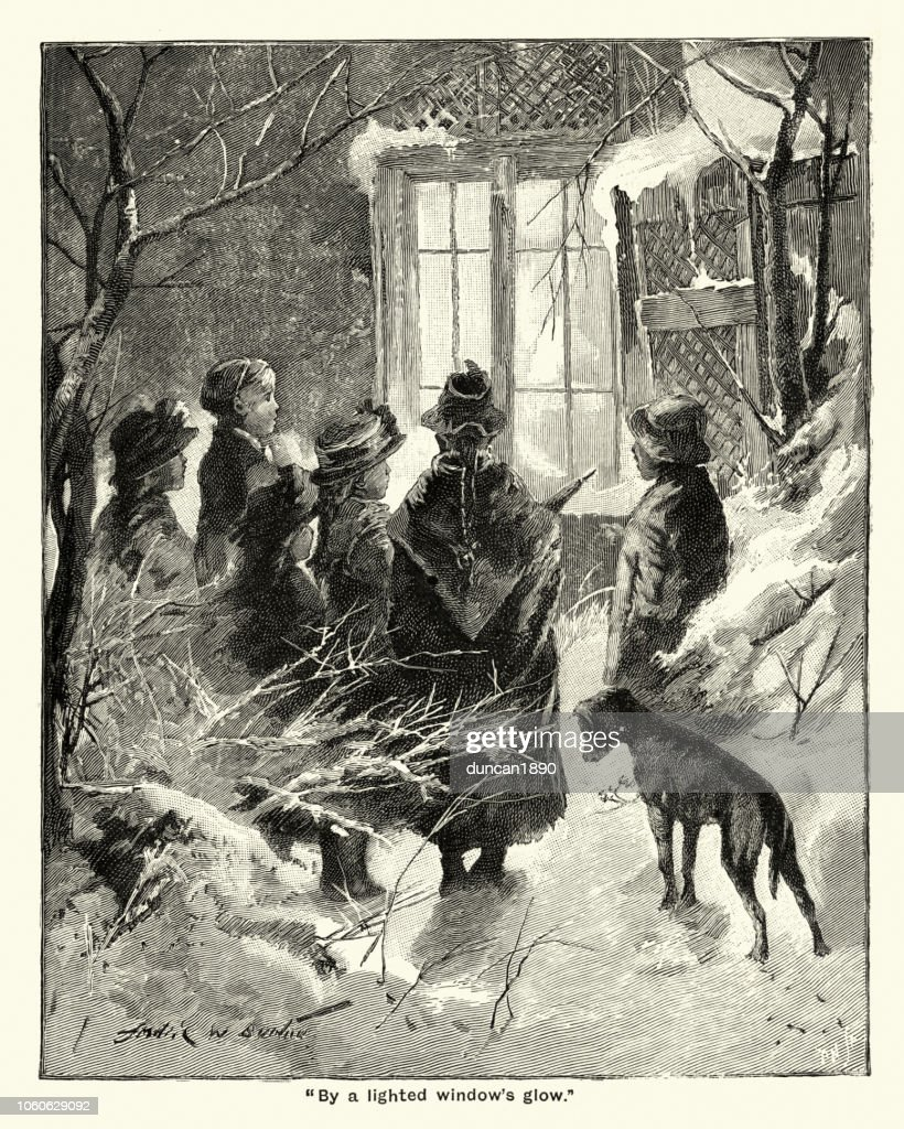Carol Singers Singing Outside A House Victorian 19th Century Stock