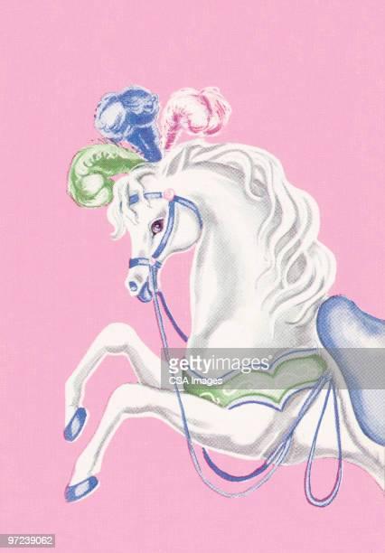 carousel horse - animal mane stock illustrations