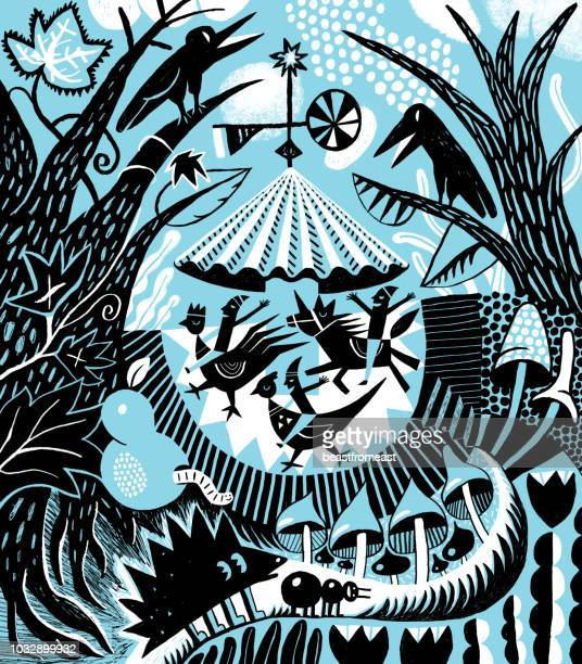 ilustraciones, imágenes clip art, dibujos animados e iconos de stock de carrusel en un marco rodeado de bosques con animales y aves - caballitos del tiovivo