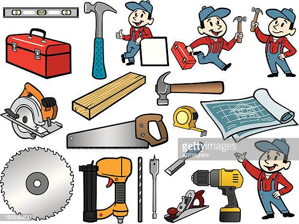 carpenter stuff - carpentry stock illustrations