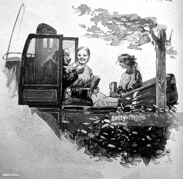 carriage driver has a break in a nice company of two women - 1896 - 1896 stock illustrations, clip art, cartoons, & icons
