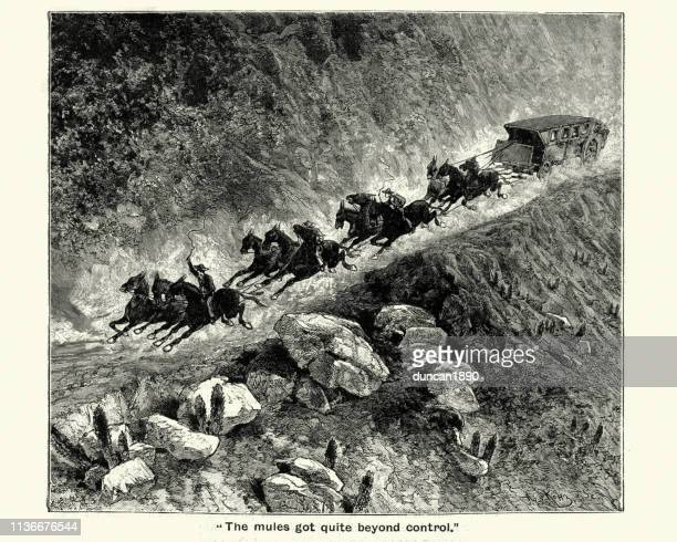carriage pulled by mules through a mountain pass, victorian - runaway vehicle stock illustrations, clip art, cartoons, & icons