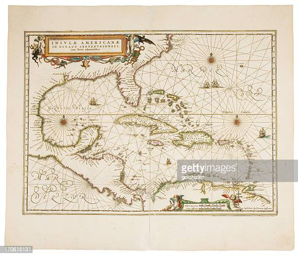 carribean map - 18th century stock illustrations
