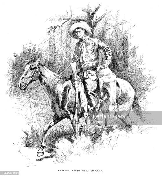 carrying fresh meat to camp - rifle stock illustrations, clip art, cartoons, & icons