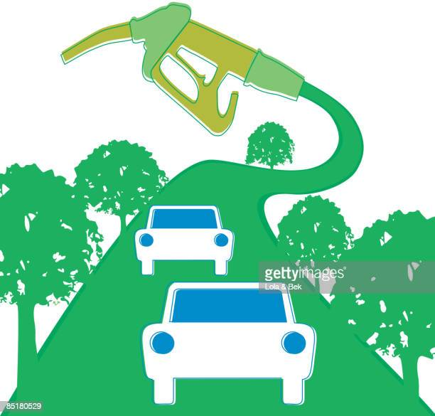 cars driving on a green road attached to a gas pump - biodiesel stock illustrations, clip art, cartoons, & icons