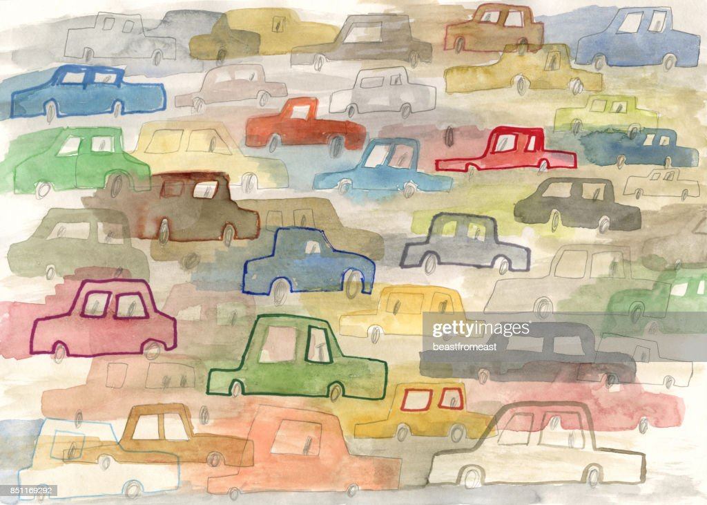 Cars in motion pattern : stock illustration