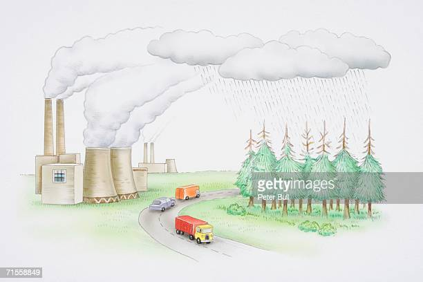 cars on road next to a power station with smoking chimneys, rain falling from clouds o to green forest with bare tree tops. - acid stock illustrations