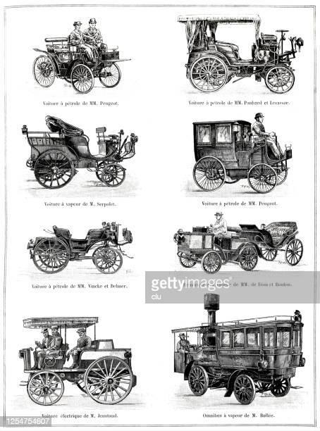 autos ohne pferde auf der champ de mars ausstellung - first occurrence stock-grafiken, -clipart, -cartoons und -symbole