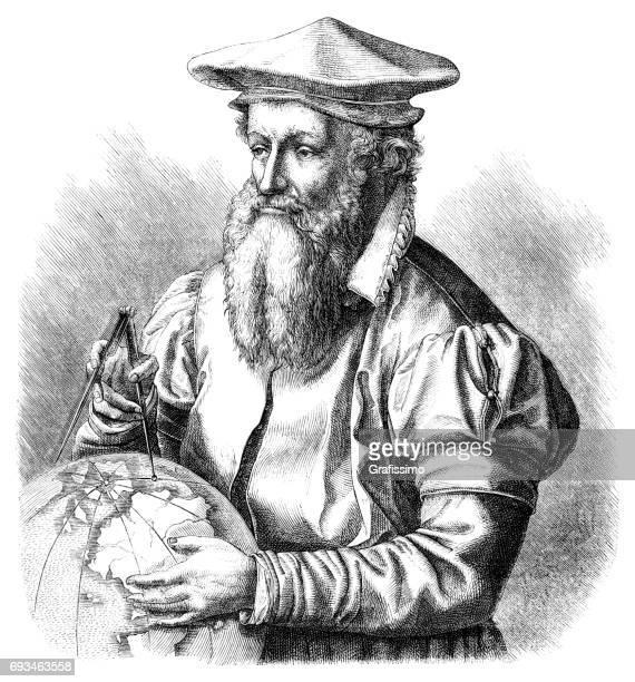 Cartographer Gerardus Mercator with globe 1874