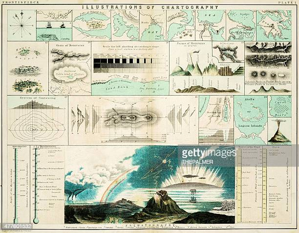 cartography 1861 - cartography stock illustrations