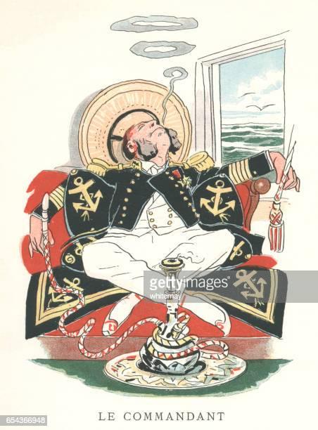 cartoon 19th century french naval officer enjoying a hookah - hookah stock illustrations, clip art, cartoons, & icons