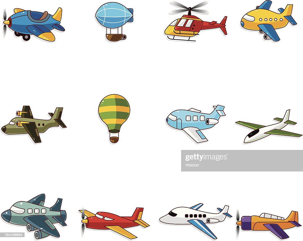 cartoon airplane icons set
