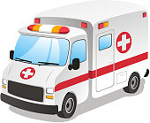 Cartoon ambulance emergency service urgency assistance