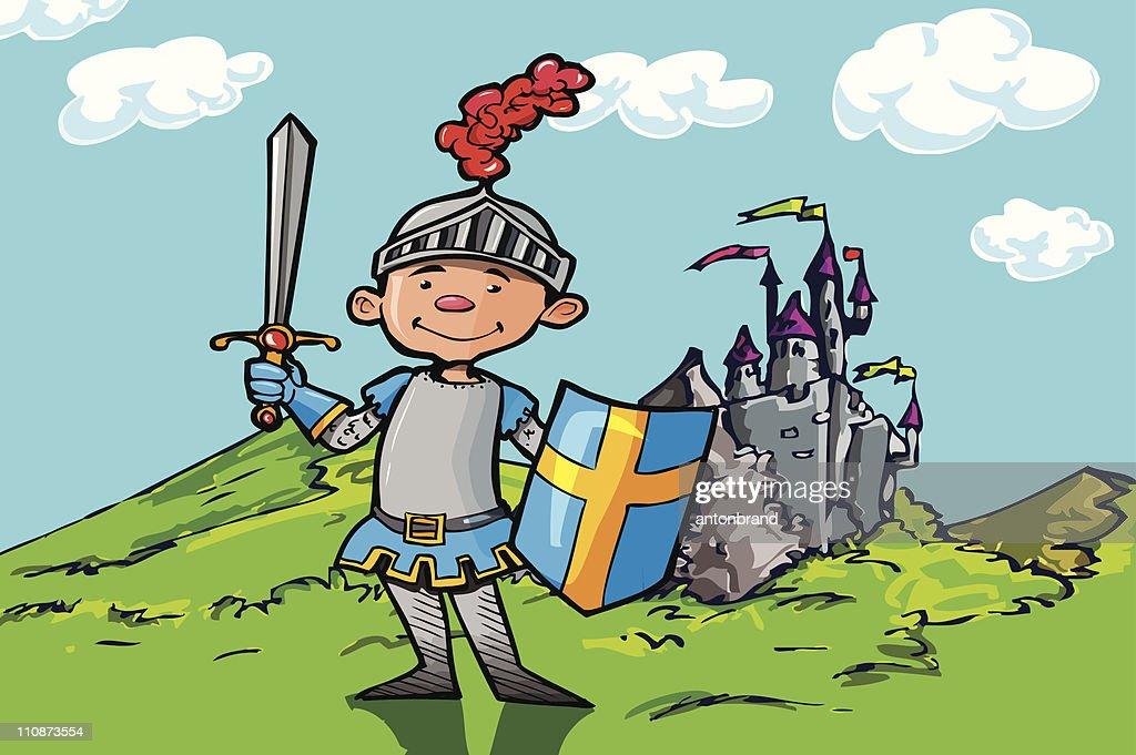 Cartoon boy knight in front of a castle