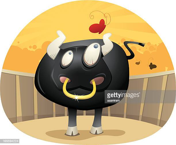 cartoon bull and red butterfly - bullfight stock illustrations, clip art, cartoons, & icons