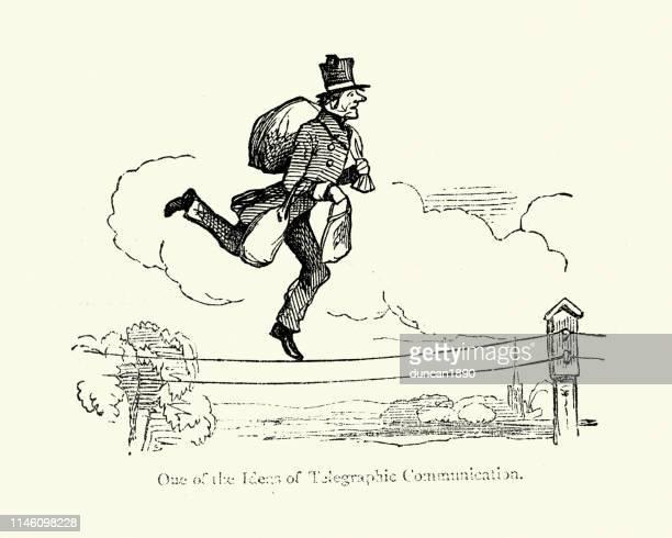 illustrations, cliparts, dessins animés et icônes de cartoon, caricature d'un facteur victorien exécutant le long des fils télégraphiques - facteur