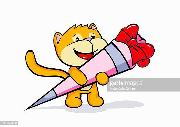 A cartoon cat holding candy on it's first day on school