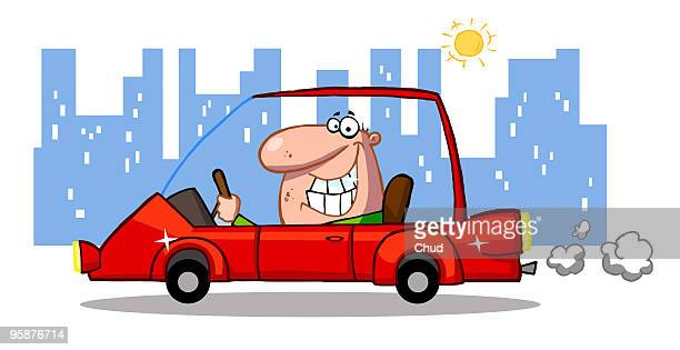 cartoon character happy man drives sports car - air pollution stock illustrations