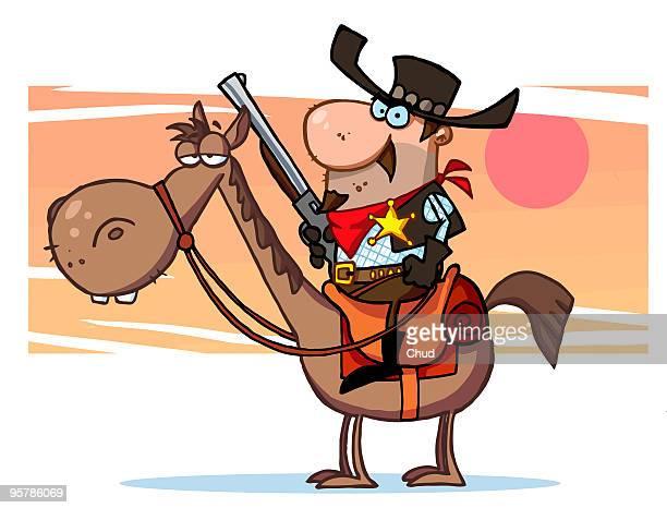 cartoon character sheriff with gun on horse - uniform stock illustrations