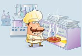 Cartoon chef with pizza, oven, kitchen utensils, pans, cook stove