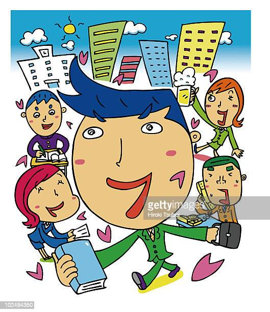 A cartoon drawing of a businessman and friends