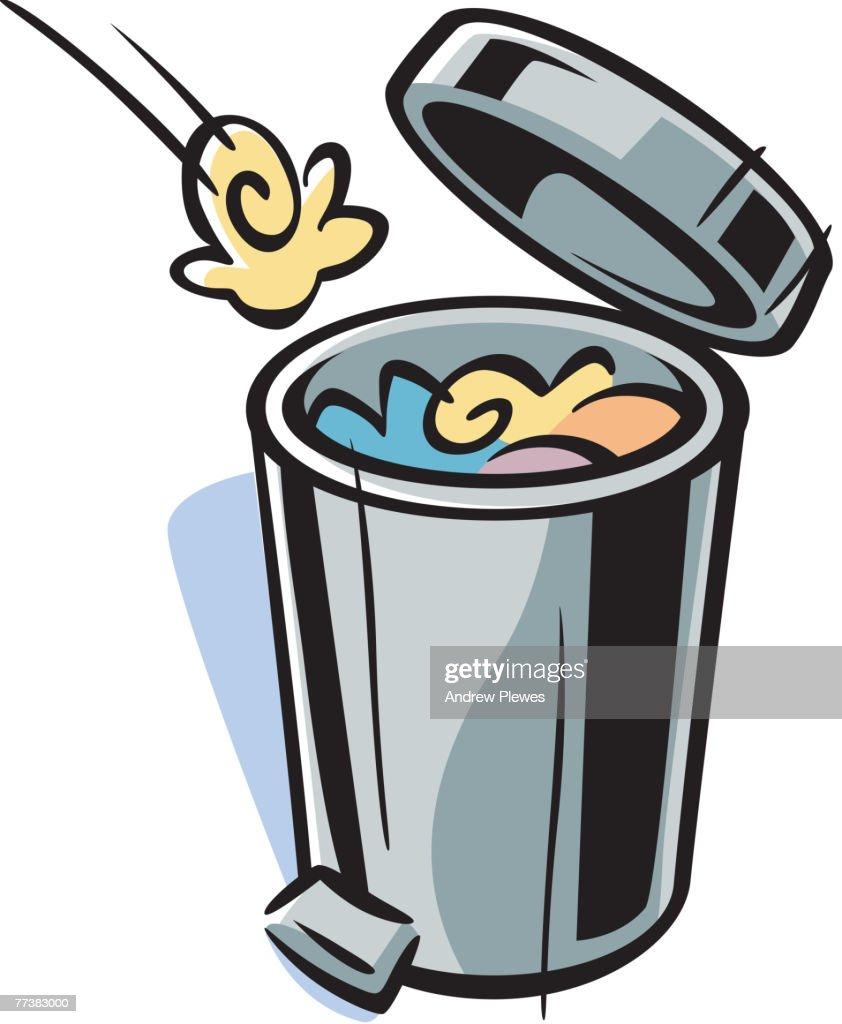 Cartoon Drawing Of A Trash Can Vector Art