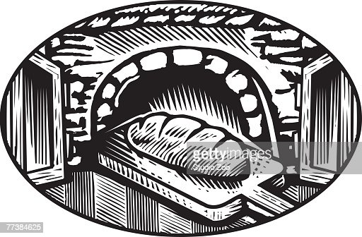 Cartoon Drawing Of An Oven Baked Bread In Black And White ...