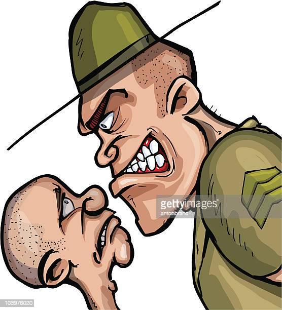 cartoon drill sargent - army training stock illustrations