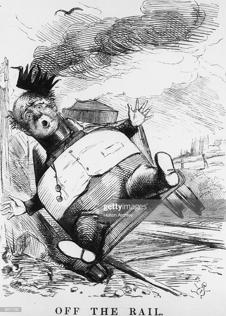 A cartoon entitled 'Off The Rail' from the satirical magazine Punch relating to the bankruptcy of George Hudson MP, known as the 'Railway King'.