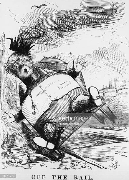 A cartoon entitled 'Off The Rail' from the satirical magazine Punch relating to the bankruptcy of George Hudson MP known as the 'Railway King'