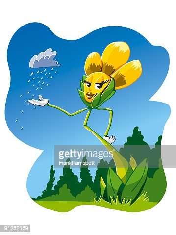Cartoon Flower Rain Queen High-Res Vector Graphic - Getty ...