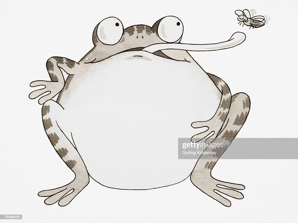 cartoon frog looking up and sticking out its long tongue to catch