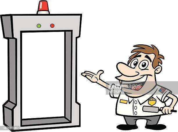 Cartoon Guy As Airport Security