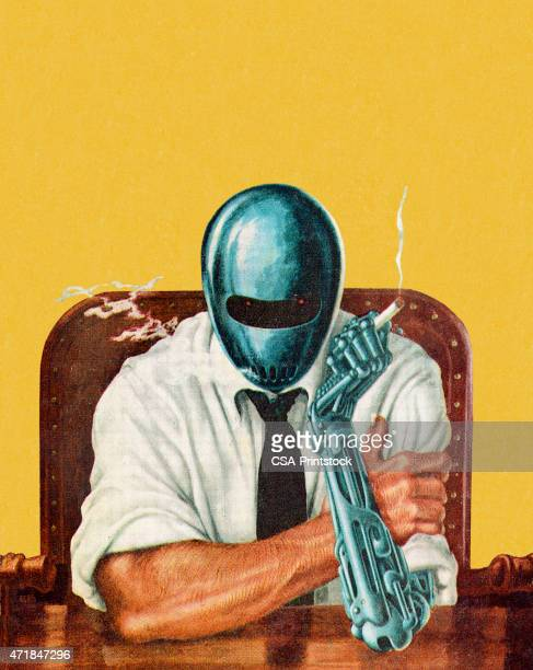 cartoon half spaceman half man at desk with cigarette - robot stock illustrations